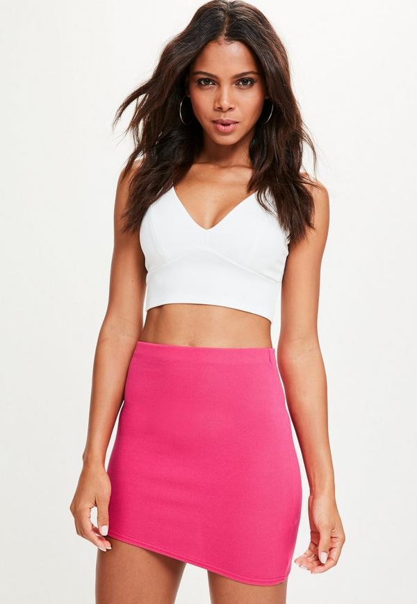 Pink Asymmetric Hem Mini Skirt