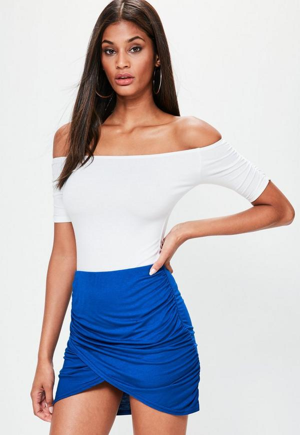 Blue Jersey Ruched Mini Skirt
