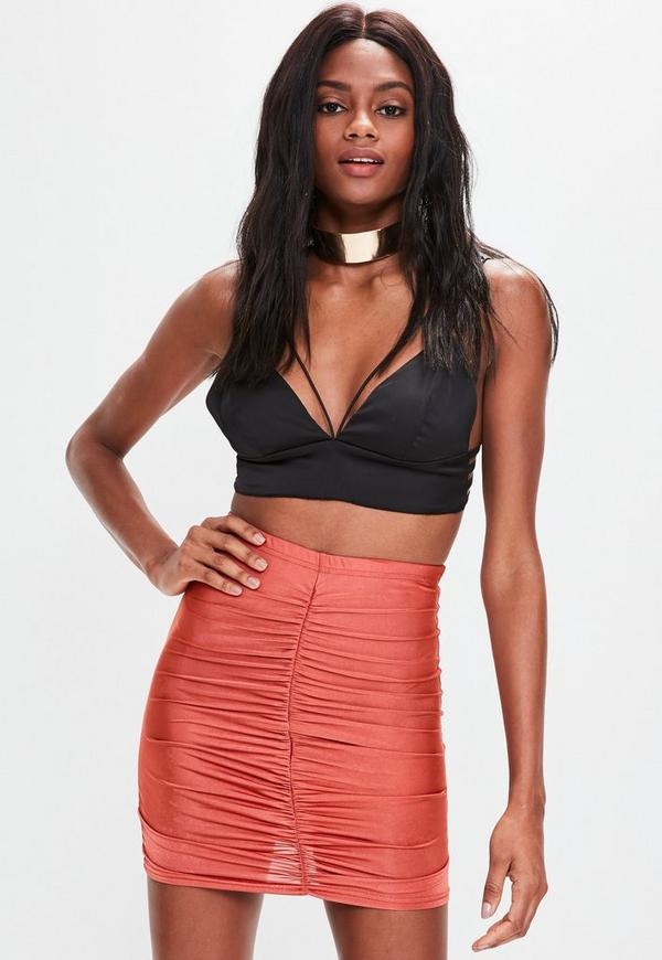 Red Slinky Ruched Mini Skirt