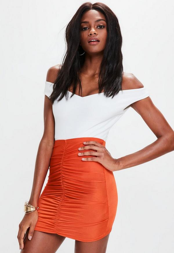 Orange Slinky Ruched Mini Skirt