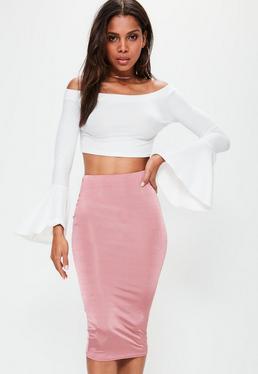Pink Slinky Midi Skirt
