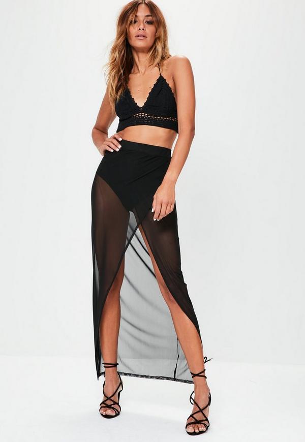 Black Mesh Wrap Over Maxi Skirt
