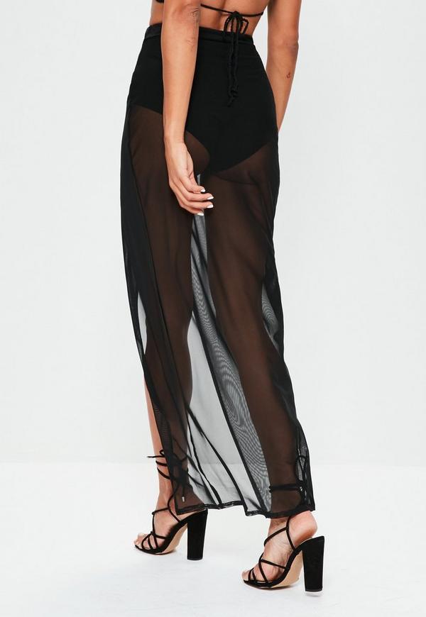 black mesh wrap maxi skirt missguided