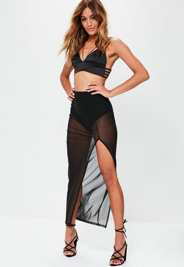 Black Mesh Split Maxi Skirt
