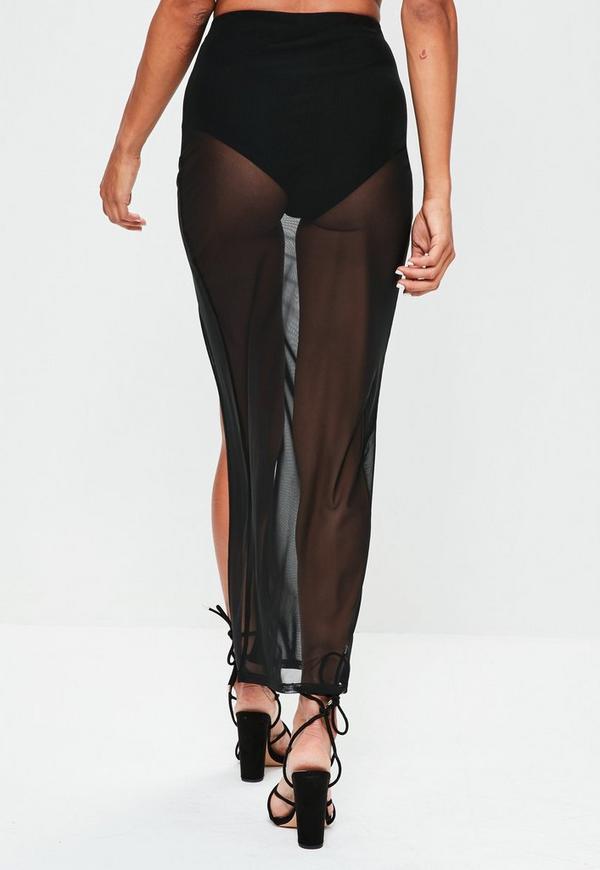 jupe longue noire transparente fendue missguided. Black Bedroom Furniture Sets. Home Design Ideas