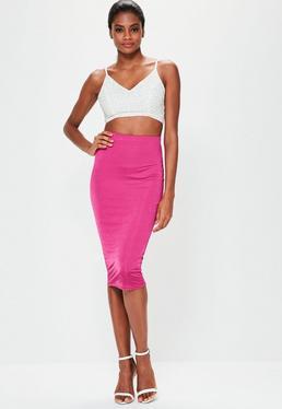 Falda midi brillante en rosa