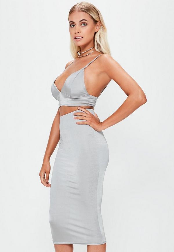 Grey Slinky Midi Skirt