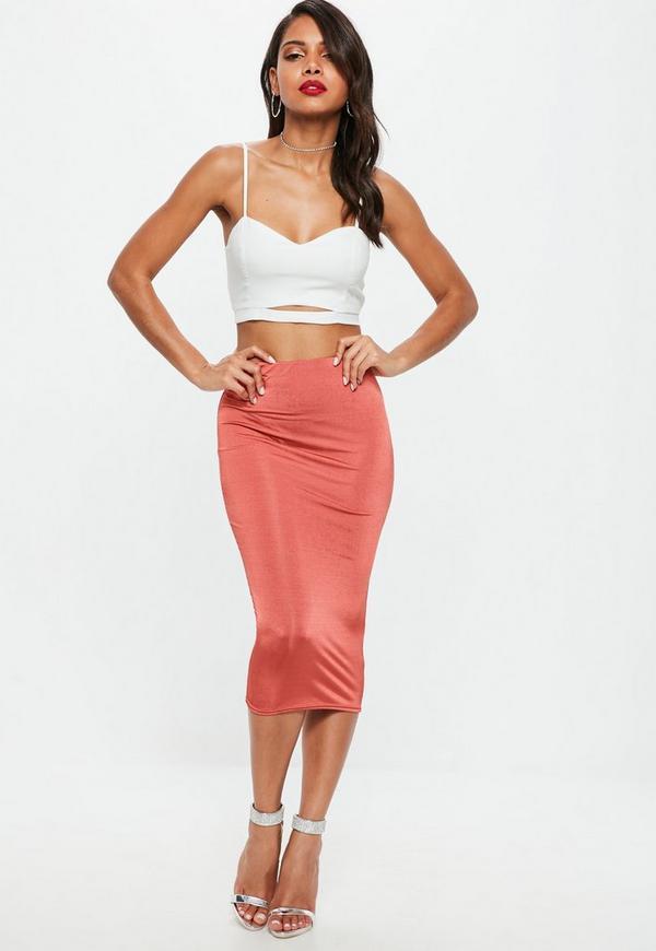 Red Slinky Midi Skirt