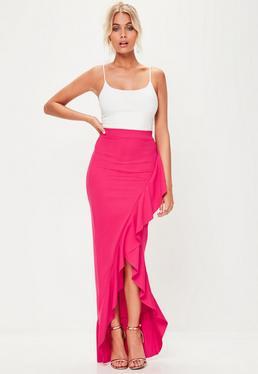 Pink Scuba Frill Maxi Skirt