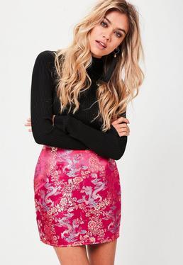Pink Curve Hem Jacquard Mini Skirt