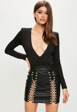 Peace + Love Black Buckle Tie Front Mini Skirt