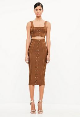 Peace + Love Brown Criss Cross Bandage Midi Skirt