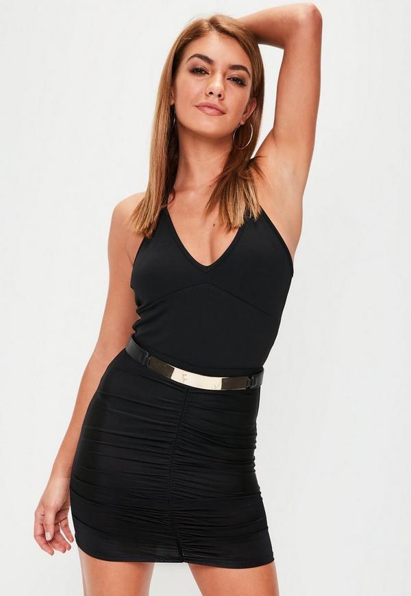 Black Slinky Ruched Mini Skirt