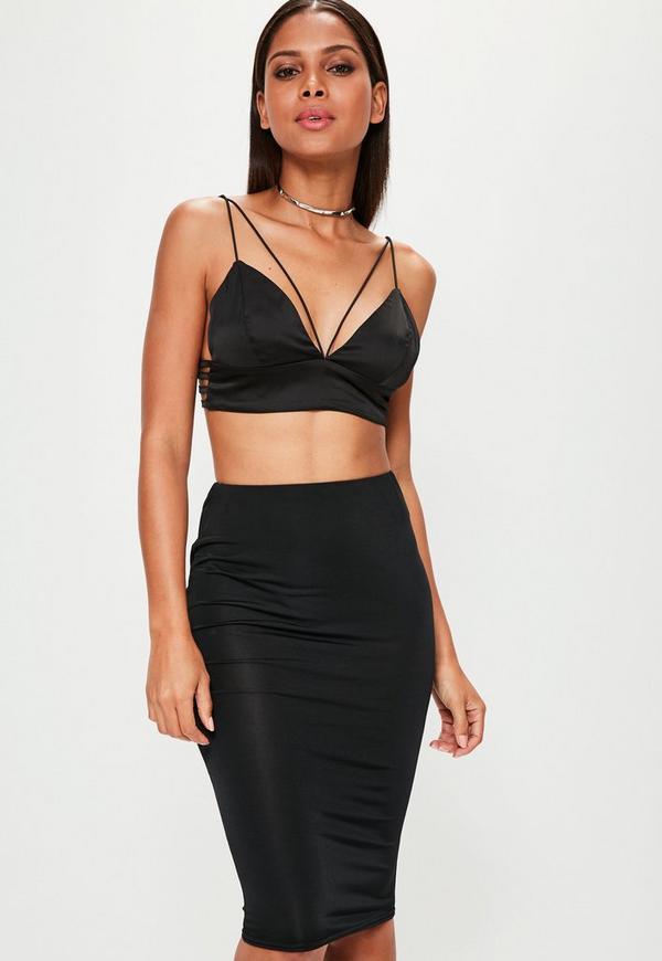 Black Slinky Midi Skirt