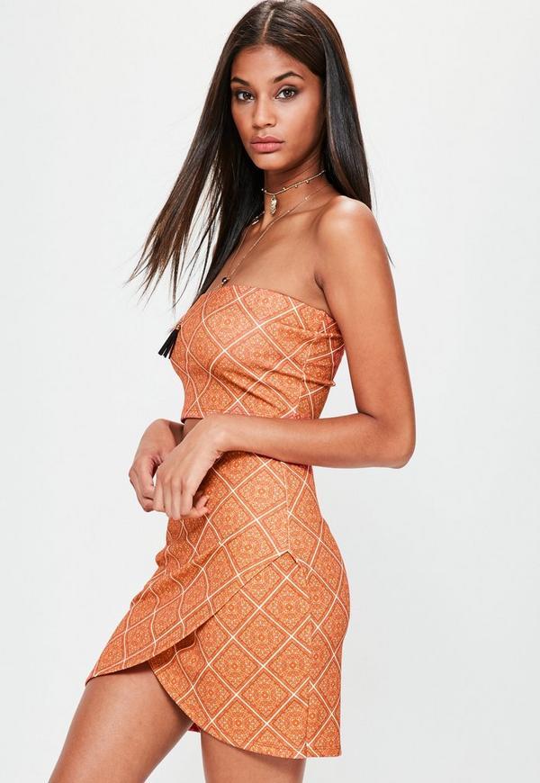 Orange Wrap Over Tile Printed Scuba Mini Skirt