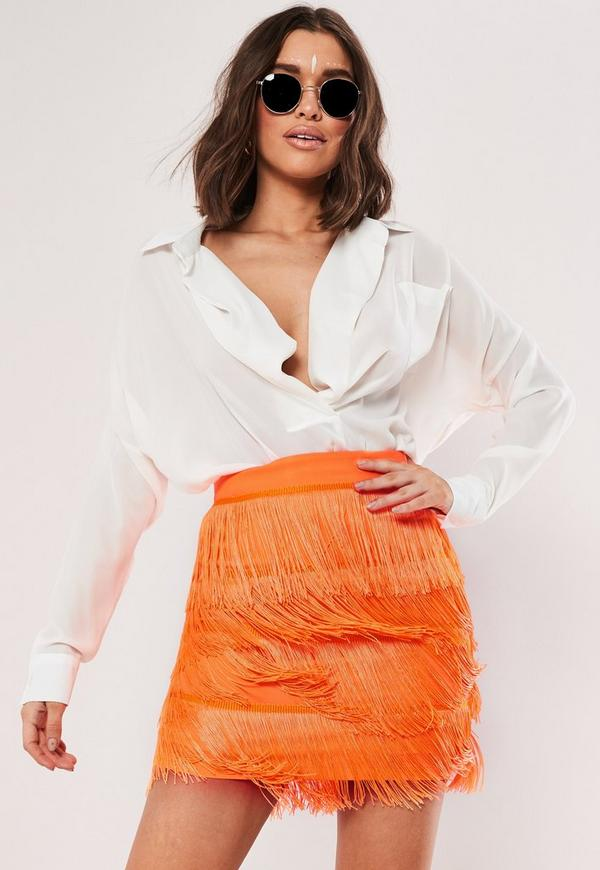 91d5a7fc5a neon orange tassel mini skirt.  50.00. Black Zip Faux Leather ...