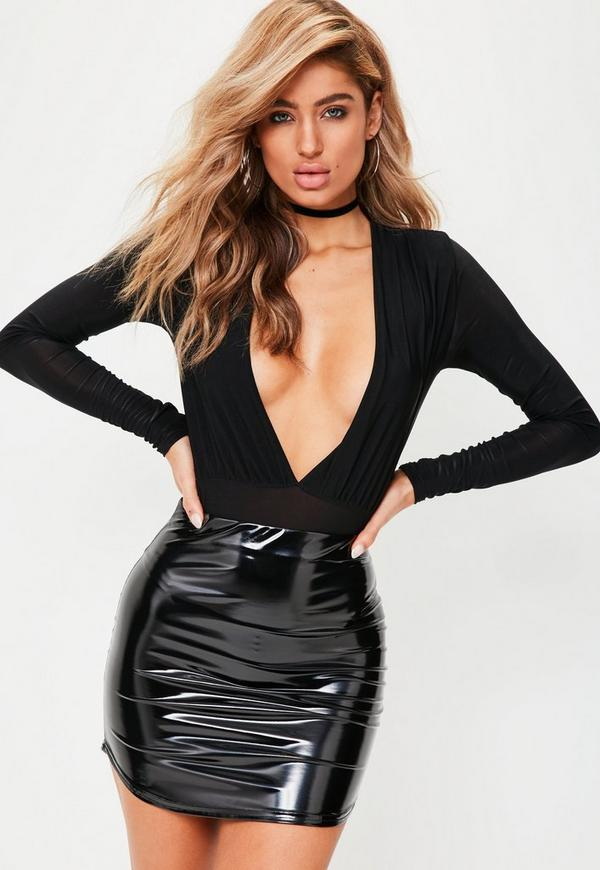 Black Vinyl Curve Hem Mini Skirt