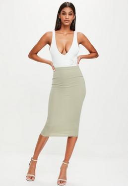 Khaki Ribbed Longline Midi Skirt