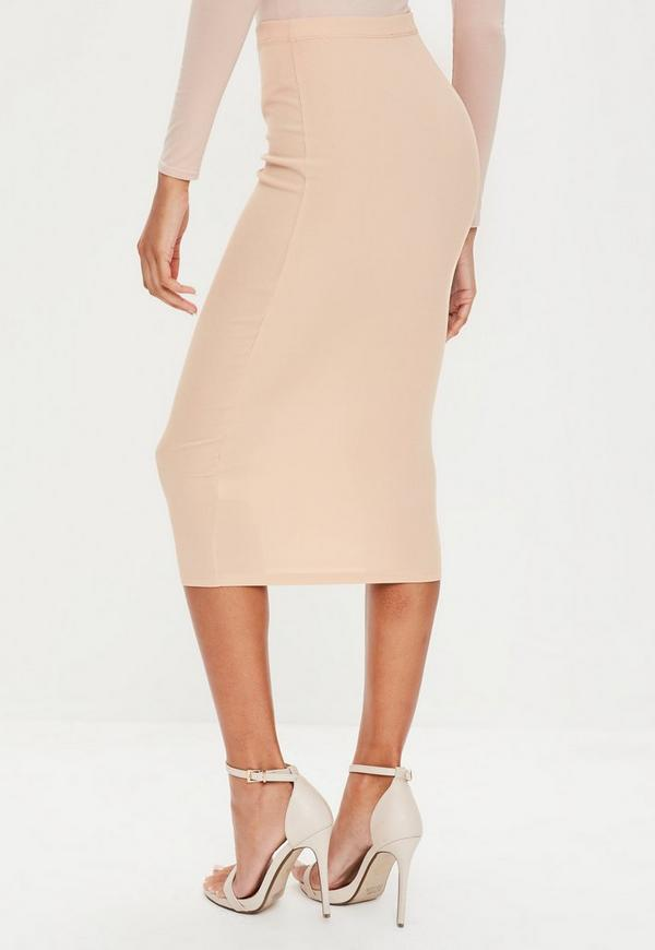 camel ribbed longline midi skirt missguided