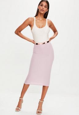 Pink Ribbed Longline Midi Skirt
