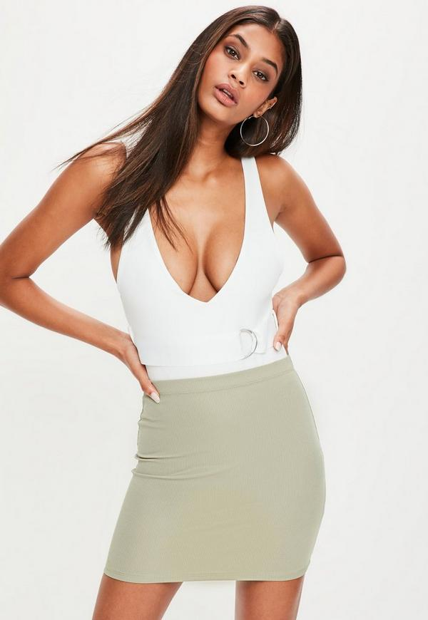 Khaki Ribbed Mini Skirt