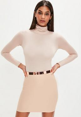Camel Ribbed Mini Skirt