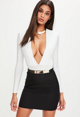 Black Ribbed Mini Skirt