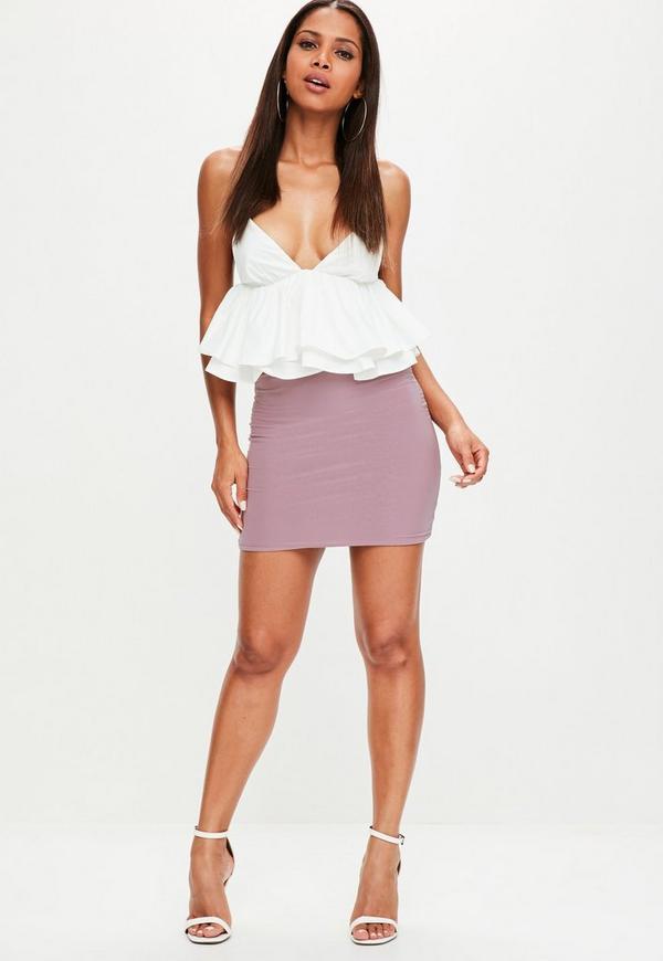 Purple Slinky Mini Skirt