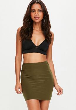 Khaki Slinky Mini Skirt