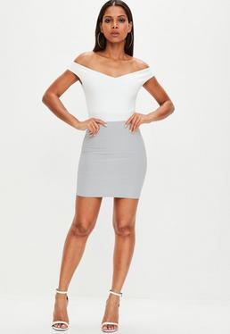 Grey Slinky Mini Skirt