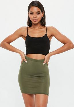 Khaki Jersey Mini Skirt