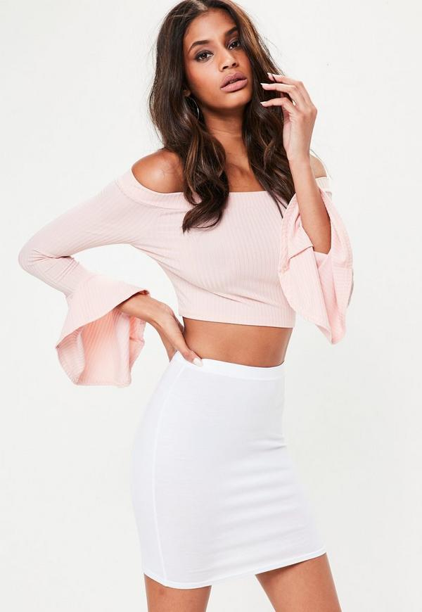 White Jersey Mini Skirt