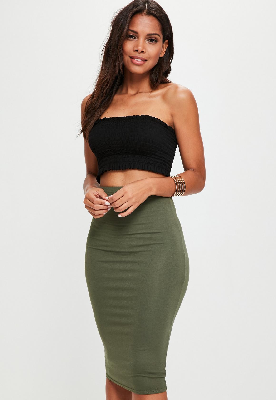 Khaki Jersey Midi Skirt | Missguided
