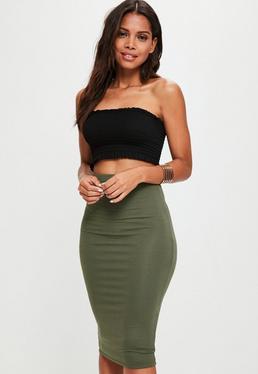 Khaki Jersey Midi Skirt