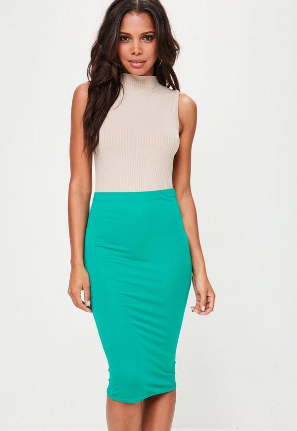 Green Jersey Midi Skirt