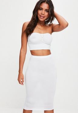 White Jersey Midi Skirt
