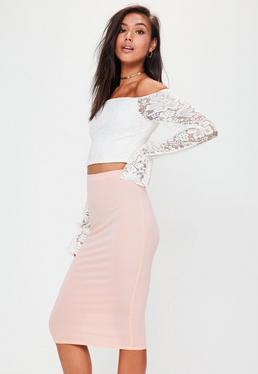 Różowa dżersejowa spódnica midi