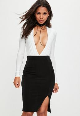 Falda midi ajustada en negro