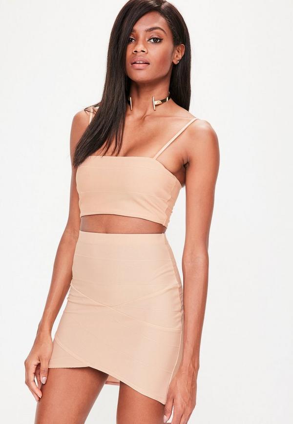 Nude Bandage Asymmetric Mini Skirt