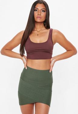 Khaki Bandage Asymmetric Mini Skirt
