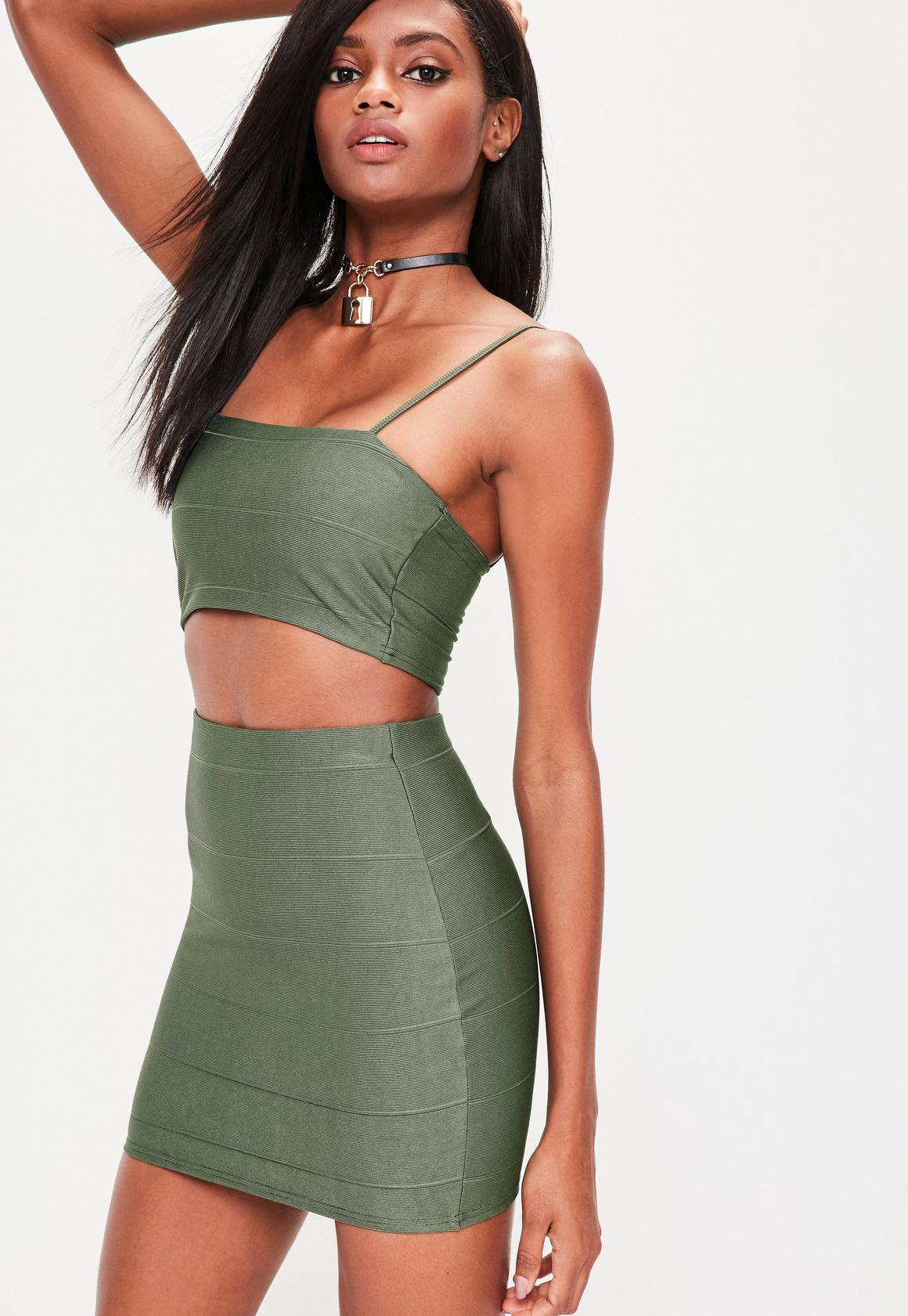 Khaki Bandage Mini Skirt | Missguided
