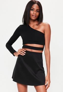 Black Scuba A Line Mini Skirt