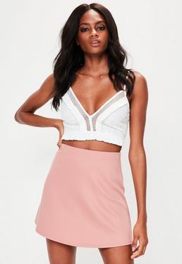 Pink Scuba A Line Mini Skirt