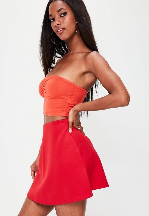 Red Scuba A Line Mini Skirt