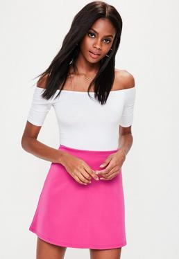 Hot Pink Scuba A Line Mini Skirt