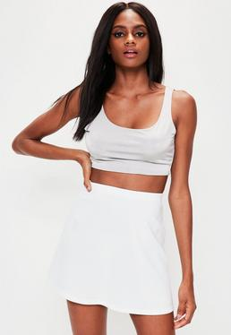 White Scuba A Line Mini Skirt