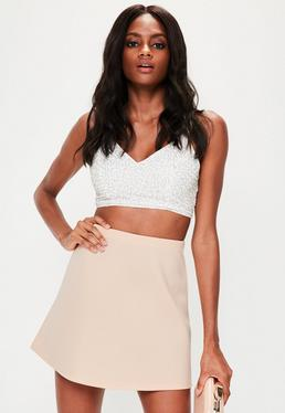 Nude Scuba A Line Mini Skirt