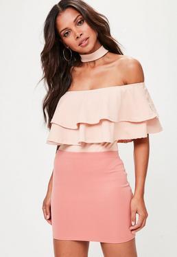 Pink Scuba Mini Skirt