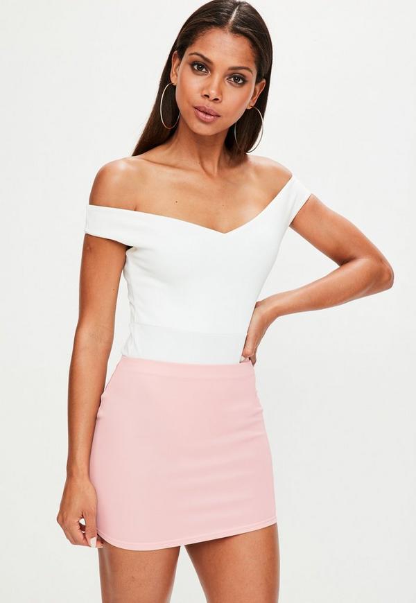 Baby Pink Scuba Mini Skirt