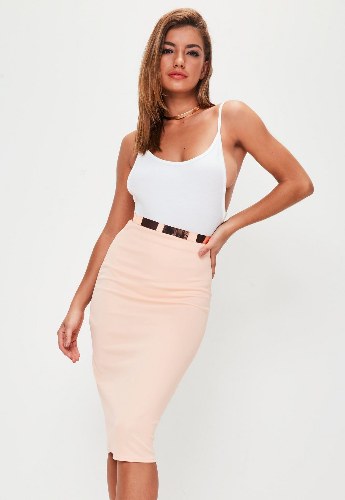 Nude Scuba Midi Skirt | Missguided